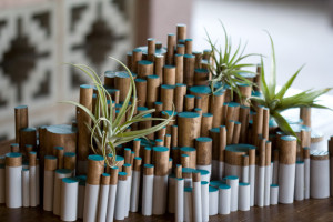 wood dowel + air plant tablescape