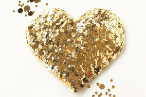 gold sequin heart DIY for 100 layer cake