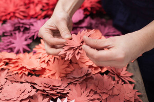 paper flowers for l'oreal in progress