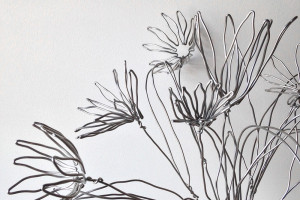 wire flowers for an hermès window display
