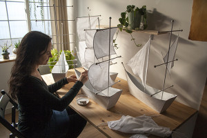 paper mache ships for a window display