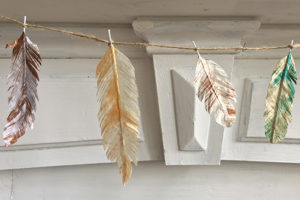Painted Tissue Feathers, Leaves, and Eggs
